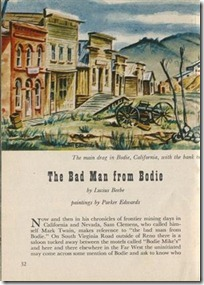 The Bad Man from Bodie - by Lucius Beebe - paintings by Parker Edwards