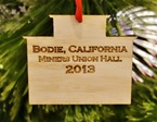 2013 Bodie ornament - Miners Union Hall, back - Bodie.com