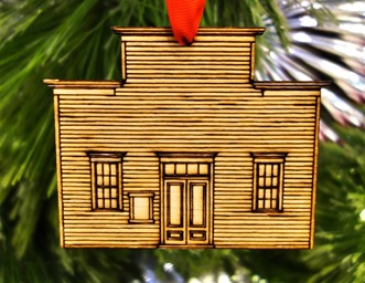 2013 Bodie ornament - Miners Union Hall, front - Bodie.com