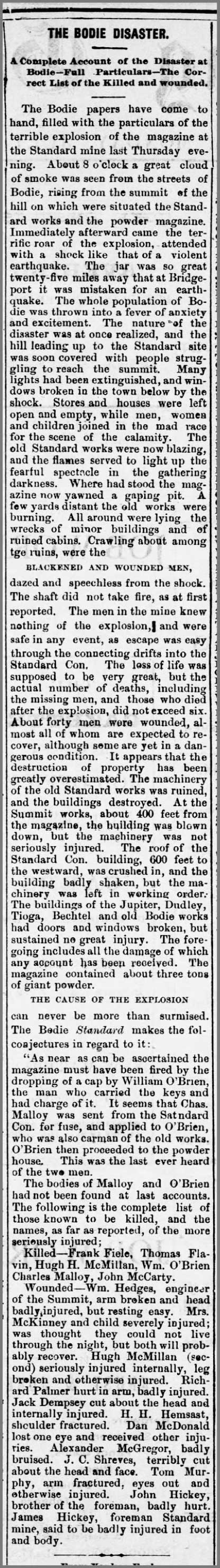 The Bodie Disaster - July 14, 1879 - original article | Bodie.com