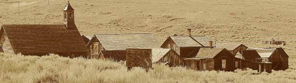 The old Methodist Church, left, is one of the first buildings visitors see. | Bodie.com
